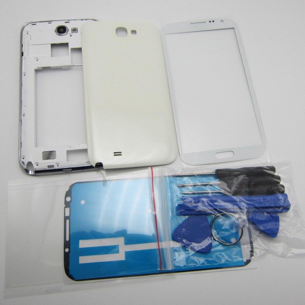 Volle Gehäuse Fall ersatzteile für Samsung Galaxy Note 2 II N7100 Mittleren Rahmen Lünette Zurück Abdeckung + Front glas + OCA Kleber Werkzeuge