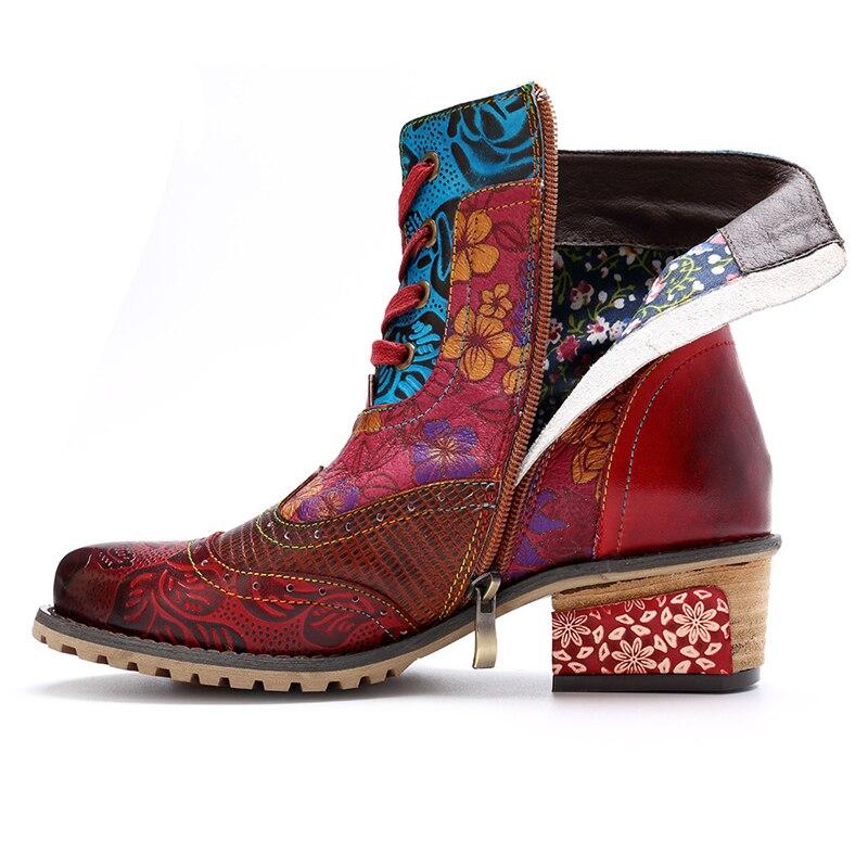 Printemps Chaussures En Véritable Cuir Femmes Ethnique Imprimé Style Vintage Cheville Rcasual Mstacchi Fleurs Bottes Rouge Patchwork Zipper XwnBqgZPx