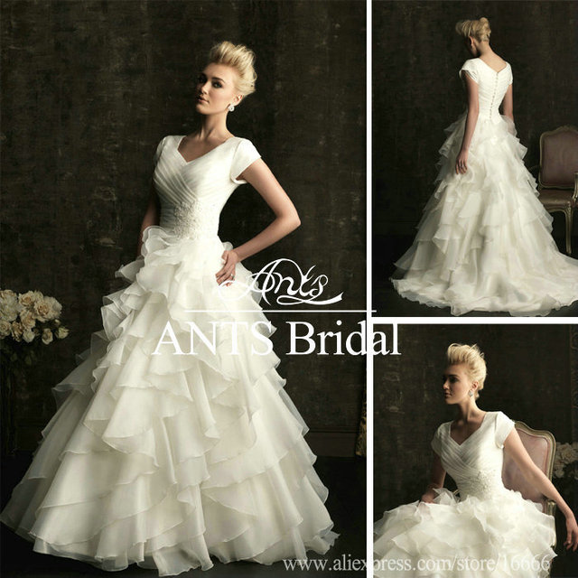 9ac6411b70 Old Fashioned A Line Ruched Corset Beaded Band Empire Waist Flouncing  Ruffles Bridal Dress Short Sleeve WD2009