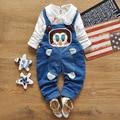 12 M-4 T Do Bebê Do Estilo Coreano Roupas de Menina Primavera Outono Crianças Meninas Conjunto de Roupas de Jeans Calças Jeans Suspender ternos 2017 Nova T169