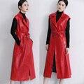 Овчины натуральной кожи куртка женщин длинные отложным Воротником красный и черный Жилет Куртка женская тонкий дизайн ветровка Куртка