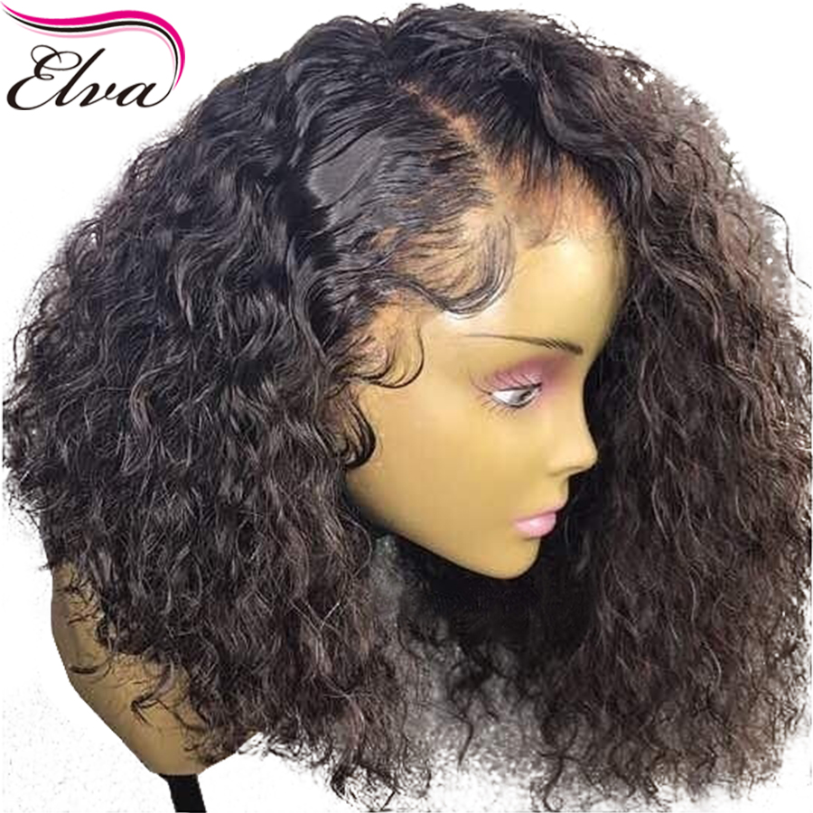 Вьющиеся 360 Синтетический Frontal шнурка волос Парик предварительно сорвал с волосы младенца 180% Плотность короткие Человеческие волосы боб Ис...