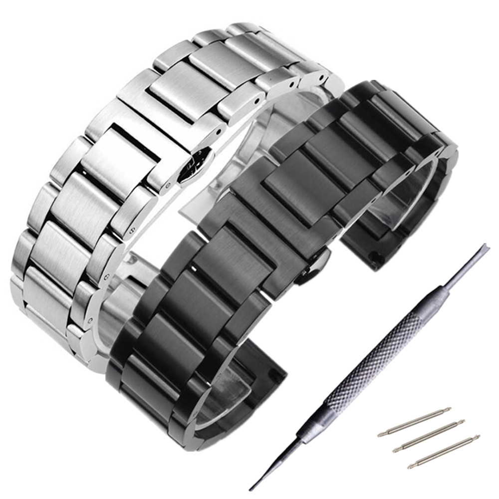 20mm 22mm 24mm 304 stainless steel watchband butterfly double snap bracelet ring smart watches accessories