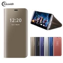 Luksusowe odwróć pokrywa etui lustrzane na telefon dla Samsung Galaxy A3 A5 A7 2017 A 3 5 7 SM A320 A320F A520 A520F A720F SM-A320F SM-A520F