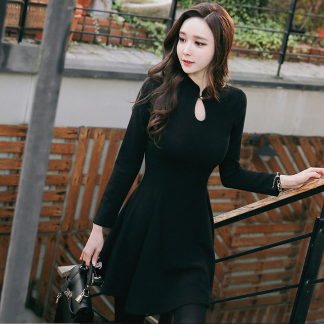 Women Sexy Black Dress For Spring Winter Plus Size For Pretty Girls