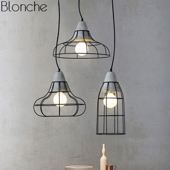 Modern Cement Pendant Lights Vintage Loft Hanging Lamp Iron Lampshade Luminarie For Dining Room Light Fixtures Industrial Decor