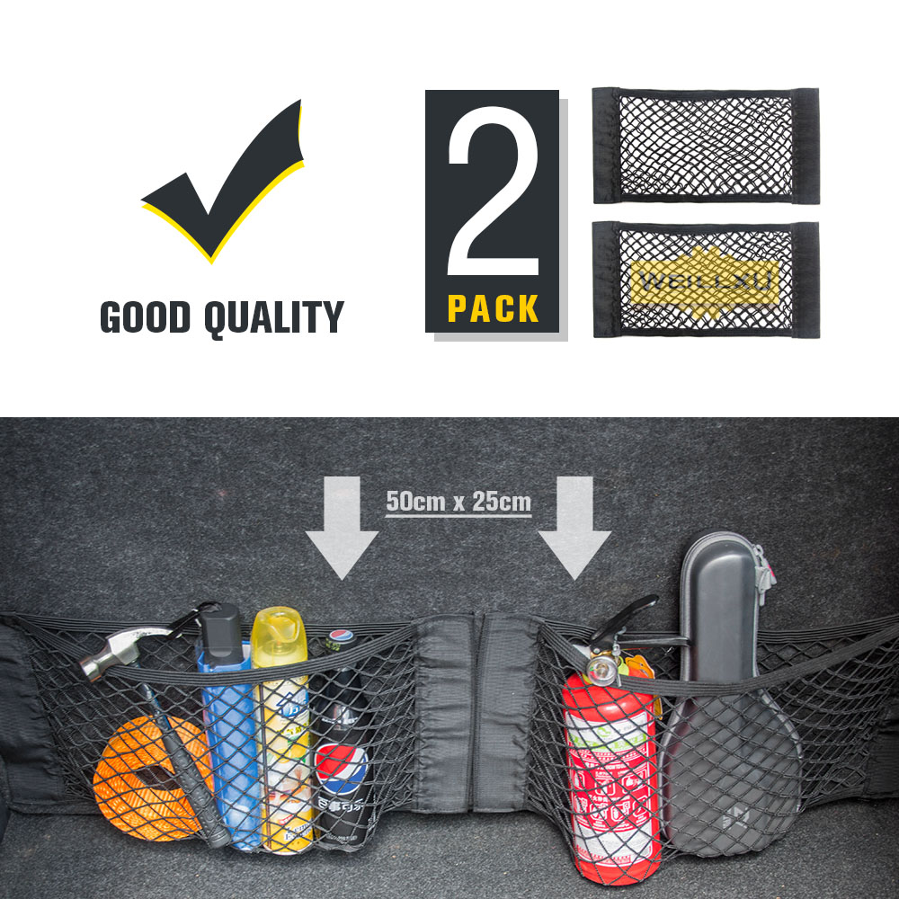Super Big Size 50cm x 25cm Car Pocket Back Rear Trunk Organizer Magic Sticker Elastic String Storage Boot Net Mesh Oganizer Bag цена 2017