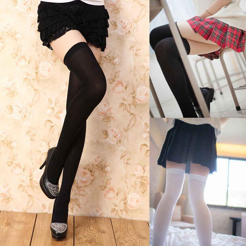 7 สีสำหรับเลือกแฟชั่นเสื้อผ้าผู้หญิงหญิงยาวพิเศษ Boot ถุงน่องเข่า Socking ต้นขาสูงโรงเรียนสาวถุงน่อง