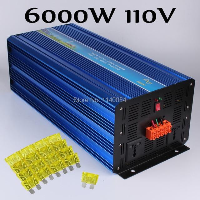 6000W Off Grid Inverter Pure Sine Wave Inverter 110V DC Input, Solar Wind Power System Inverter 6000W with 12000W Surge Power