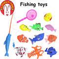 Adorável 12 PCS das Crianças Brinquedo de Pesca Magnética Peixe de Plástico Com Haste E Net Divertido Jogo Do Bebê Ao Ar Livre Indoor Brinquedos para o banho