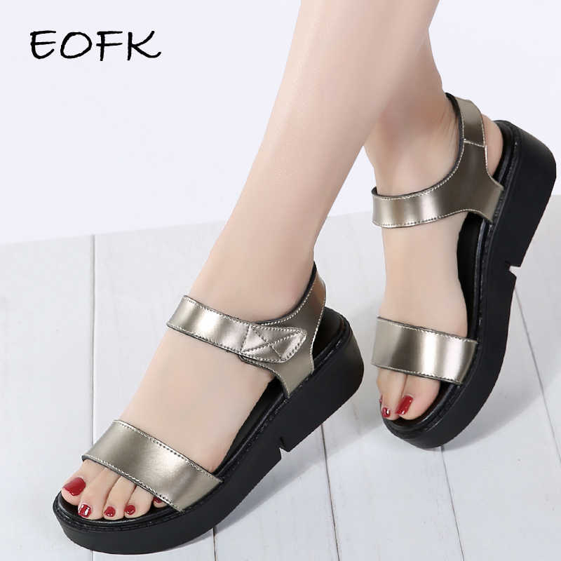 9e64c2f8c3 EOFK 2019 High Quality Summer Women Sandals Comfortable Leather Flat Comfort  Sandals Lady Shoes Woman Golden