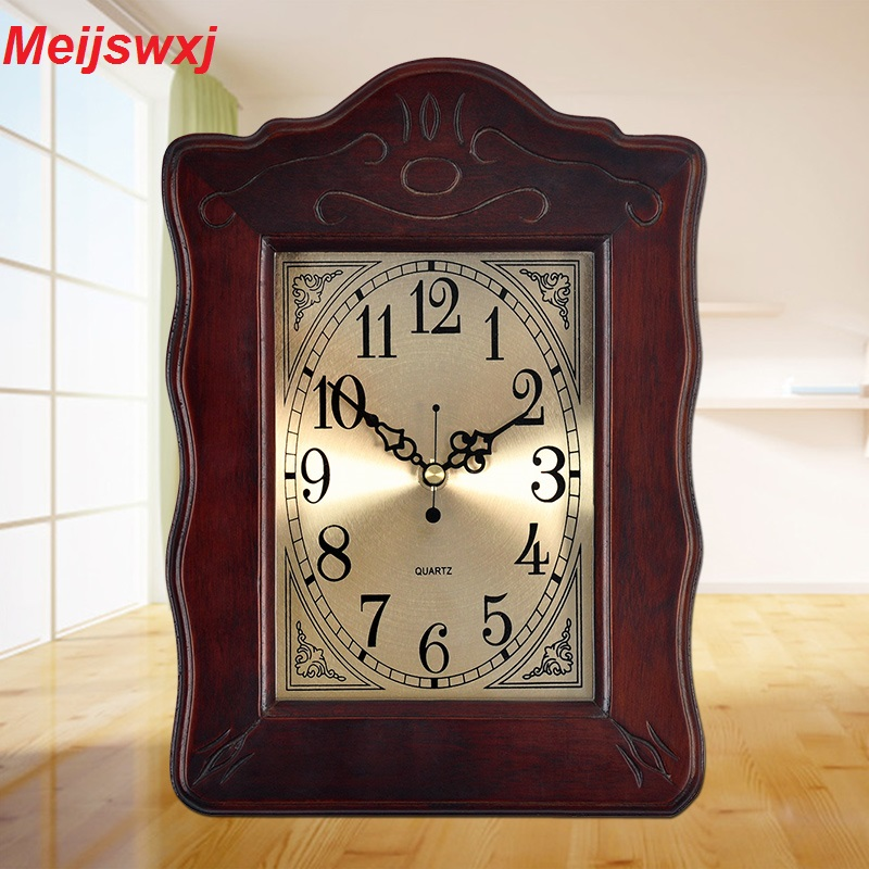 Meijswxj Saat Reloj Horloge Murale Relogio de parede Duvar Saati Chambre chevet Support table Horloge Woode salon mur horloges