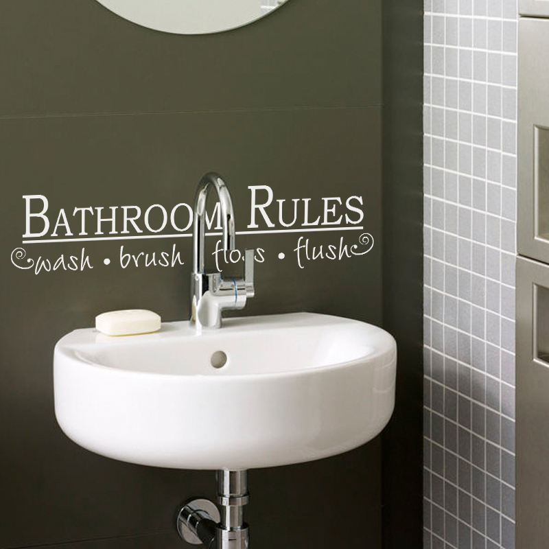 Bathroom rules wash brush floss flush vinyl wall decal for Bathroom decor rules