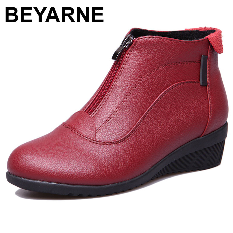BEYARNE Autumn Winter Boots Women Ankle Boots Shoes Woman Fashion Wedges Heels Woman Boots High Quality Leather Shoes Female zip moonmeek 2018 fashion autumn winter shoes woman pointed toe shoes woman wedges ladies boots women genuine leather ankle boots