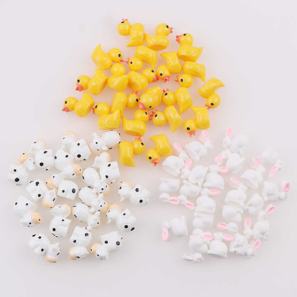 Mini 50pc AnimalResin Duck Rabbit Cows  Flat Back DIY Miniature Artificial Hand Painted Resin Cabochon Craft Play Doll House Toy