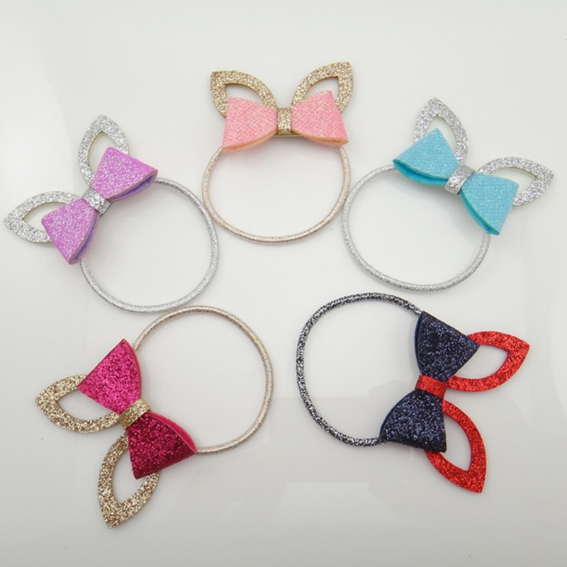 12 Pieces Cute Glitter Ponytail Holder Lovely Rabbit Ears Hair Ties Fashion Girls Hair Accessories Hair Bow Elastic Hair Bands ...