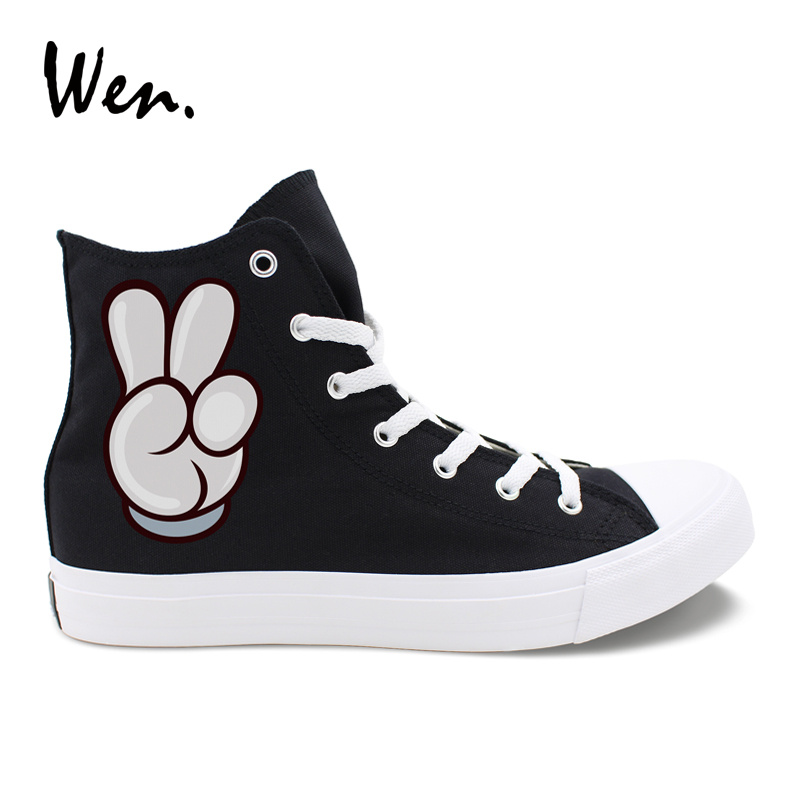 Wen Black White Canvas Shoes Hand Gestures Praise And Victory Designs High Top Women Men 39 s Casual Sneakers Unique Couple Shoes in Men 39 s Vulcanize Shoes from Shoes