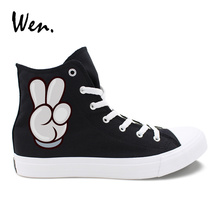 Wen Black White Canvas Shoes Hand Gestures Praise And Victory Designs High Top Women Men's Casual Sneakers Unique Couple Shoes unique hand painted shoes converse chuck taylor hamburger high top canvas sneakers unique christmas gifts men women