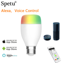 Spetu Alexa Voice Wifi Smart Light Bulb,Dimmable LED Light,Multicolored LED Bulbs,With 6W Color Changing Dimmable LED Bulbs