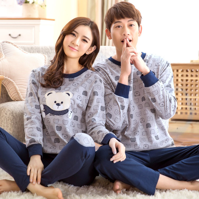 dc78162881 New long sleeved cartoon Bear style couple pajamas set and autumn winter  spring cartoon lovers home