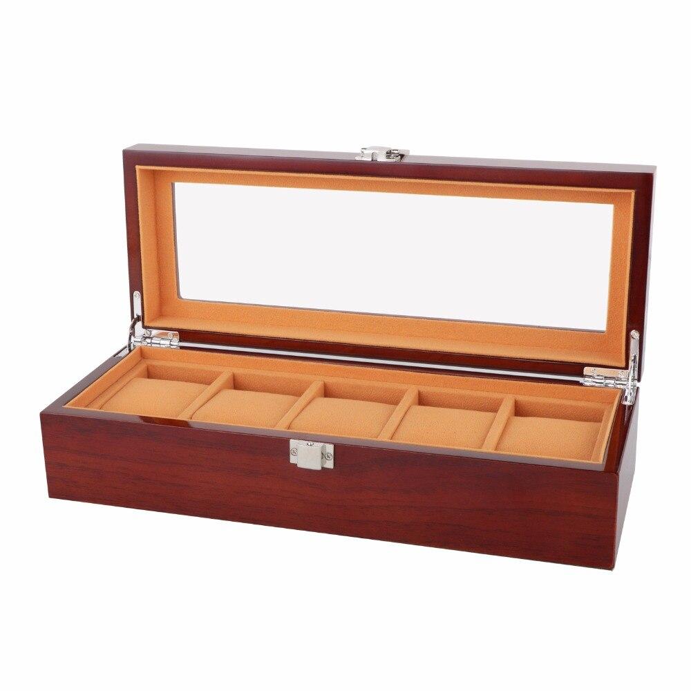 Nouvelle boîte de montre en bois de mode 5 grilles boîtier de montre en bois massif montre environnementale bijoux affichage boîtes de cadeau de stockage montres cercueil