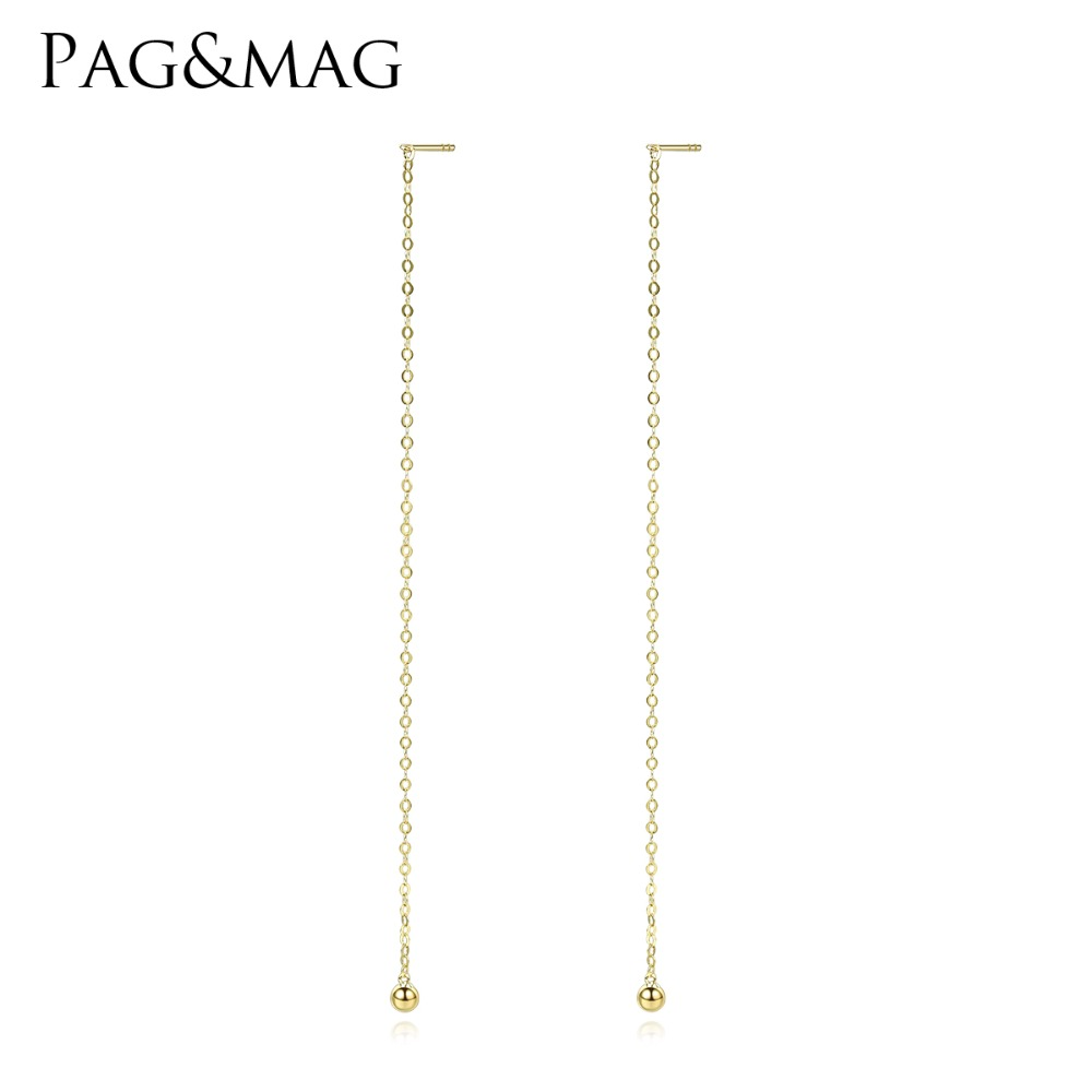 PAG&MAG Exquisite Pure 18K Gold Link Chain Design Drop Earrings for Women Luxury Long Dangle Earring Fine Jewelry Elegant Gifts yoursfs dangle earrings with long chain austria crystal jewelry gift 18k rose gold plated