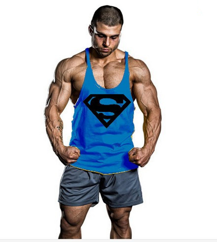 2018 Nya Superman Gym Singlets Mens Tank Tops Skjorta, Bodybuilding Equipment Fitness Mäns Golds Gym Stringer Tank Top