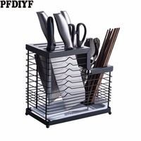 Household 304 Stainless Steel Knife Holder Large Capacity Block Storage Knife Holder Storage Rack Drain Tray Cooking Accessories