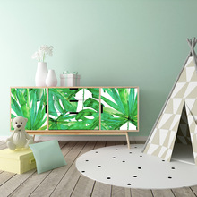 цены Home Furnitures Decorative Innovative Wardrobe Stickers Living Room Background Wall Sticker Tropical Fresh Green Plants Decal