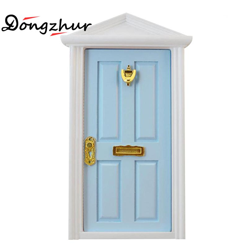Blue New Wooden 1:12 Doll Mini Furniture Accessories European Door Children DIY Doll House Decoration Door Kids Toy Model WJ1033 luoxiaohei style polyester spandex doll toy decoration black yellow blue white