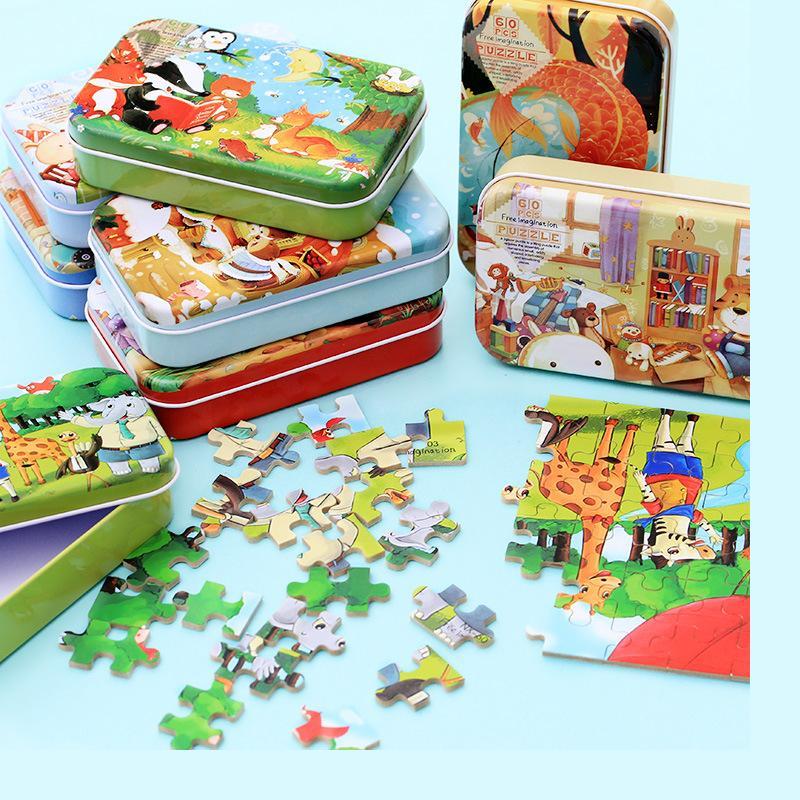60 de jucării puzzle PC-uri din lemn / staniu poate de înaltă calitate Cartoon Metal Box puzzle / copii Cadouri de ziua de nastere, gratuit de transport maritim