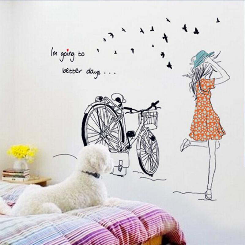 decor wall sticker beauty bicycle girl removable vinyl wall sticker bicycle wall decals bicycle classic basket wall