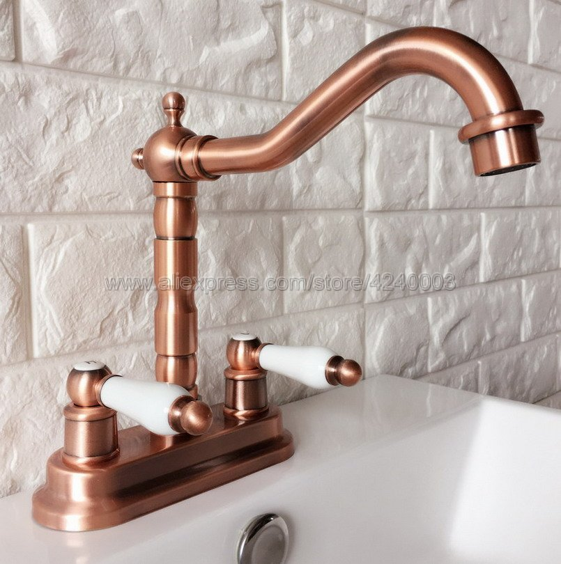 Antique Red Copper Deck Mounted 2 Handle Hole Kitchen Bathroom Faucet Sink Water Mixer Tap Krg043