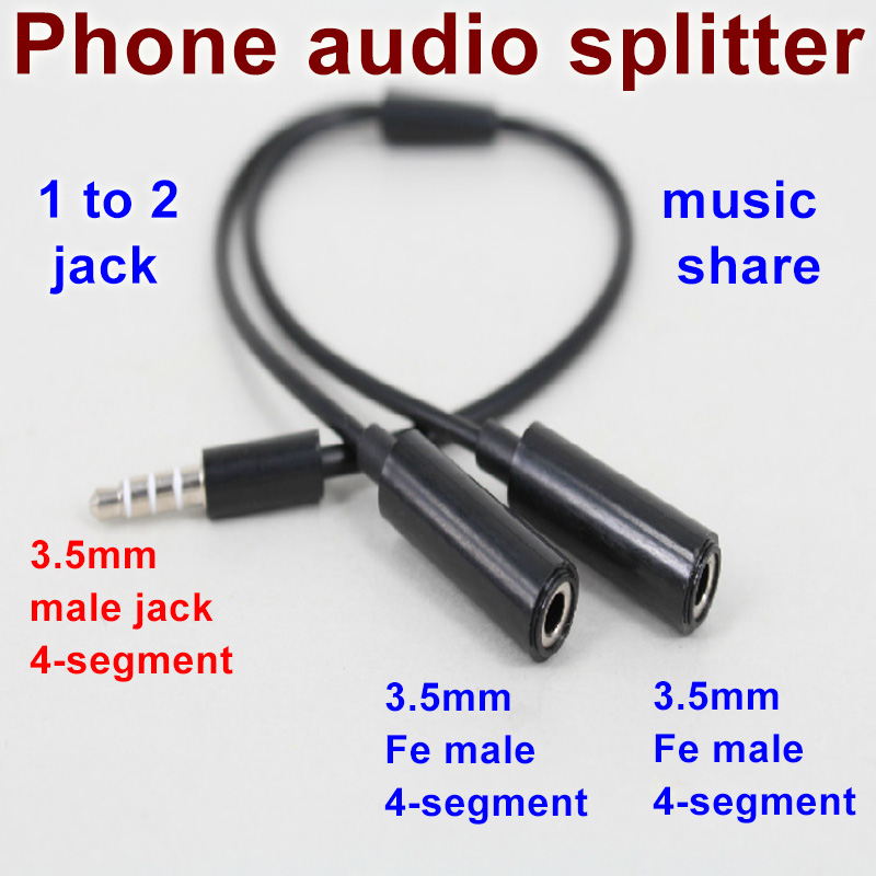 3 5mm font b audio b font Jack 4 pin segment earphone splitter adapter headphone extension