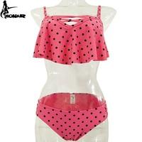 EONAR Dot Swimsuits 2017 Ruffle Retro Bikini Set Cross Bottom Bandage Bathing Suits Women Swimwears Push