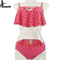 EONAR Dot Swimsuits 2017 Ruffle Retro Bikini Set Cross Bottom Bandage Bathing Suits Women Swimwears Push