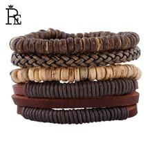 RE New 2017 Vintage Genuine Cowhide Leather Bracelet Set Handmade Wooden Beads For Men Women Punk Rock Bracelets Bangles