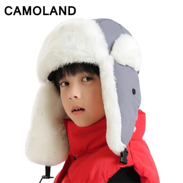 Winter Bomber Hats for girls fur kids hat boys Balaclava ushanka Russian  caps with mask Snow ski bone Soviet gorro Earflap warm 5ad85fb9fde