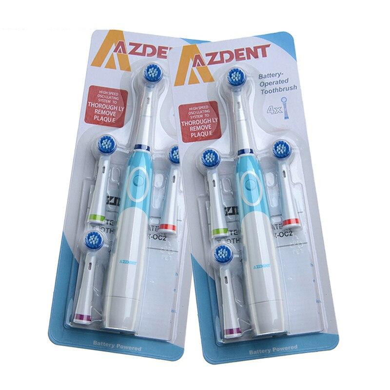 2 stück Rotierende Elektrische Zahnbürste Mit 4 Ersatz Pinsel Köpfe Reise Zahnbürste Keine Wiederaufladbare Zähne Pinsel Mundhygiene