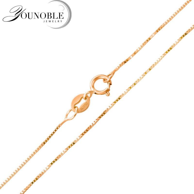 Real 18 K oro collar cadena 18 pulgadas, boda au750 Rosa oro collar Wending fiesta regalo Mujer-in Colgantes from Joyería y accesorios    1