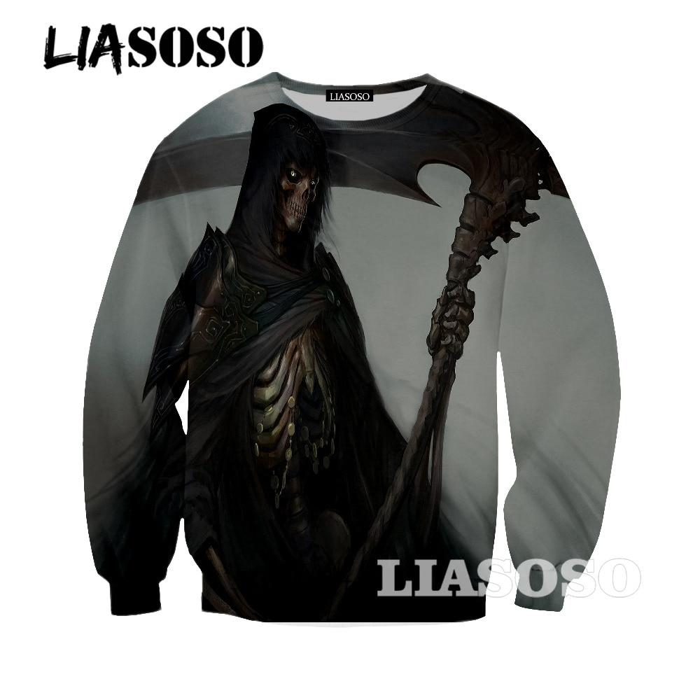 LIASOSO new grim Reaper Skull sweatshirt Pursuers Design sweatshirt Men Rock Band sweatshirt long Sleeve tops tee oo123