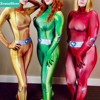 Totally Spie Costume 3D Print Sexy Alex Sam Clover Base Suit Lycra Spandex Halloween Zentai Cosplay Suit For Lady/Girl/Female