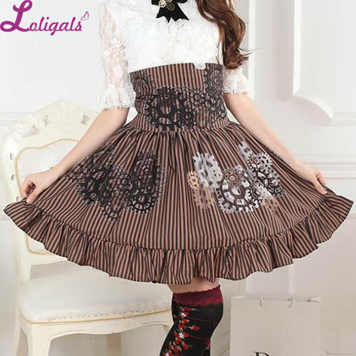 Women's Steampunk Skirt High Waist Brown Gear Printed Striped A Line Lolita Skirt With Ruffles