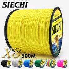 SIECHI PE плетеная леска, многофиламентная, 500 м, 8 нитей, корд, леска для ловли карпа, для морской воды, 20, 30, 40, 50, 60, 80 фунтов