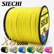 SIECHI PE плетеный плетеная рыболовная леска 500 м 8 нитей шнур Карп Рыбалка линии для морской 20 30 40 50 60 80LB