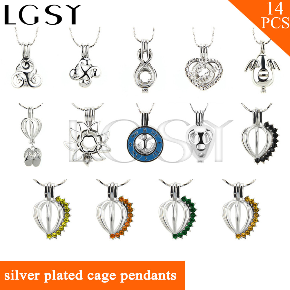LGSY 14pcs/set Fashion Silver plated mixed beautiful design charms cage pendants for women Jewelry accessaries