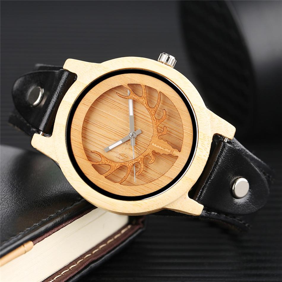 YISUYA Deer Wooden Watch Men's Bamboo Leather Wood Quartz Watches Gift relogio de madeira (8)