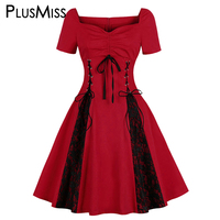 PlusMiss Plus Size 4XL 3XL Lace Sweetheart Neck Tunic Dress Women Lace Up Sexy Vintage Retro 50s Swing Party Dresses Big Size