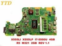 Original for ASUS X555LP X555LI laptop motherboard X555LI X555LP I7 5500U 4GB R5 M321 2GB REV 1.1 tested good free shipping