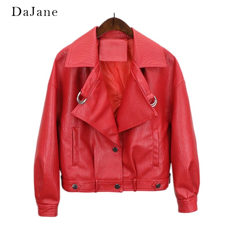Haining DaJane Retro PU   Leather   Loose   Leather   Women Short Europeanstreet Lapel Tide Jacket